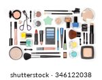 makeup cosmetics and brushes on ... | Shutterstock . vector #346122038
