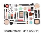 makeup cosmetics and brushes on ... | Shutterstock . vector #346122044