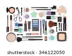 makeup cosmetics and brushes on ... | Shutterstock . vector #346122050