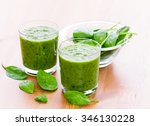 two glass of green smoothie... | Shutterstock . vector #346130228