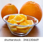 couple of orange slices in a... | Shutterstock . vector #346130669