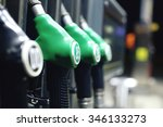 green fuel pistols on fuel...   Shutterstock . vector #346133273