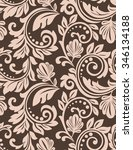 damask seamless floral pattern. ... | Shutterstock . vector #346134188