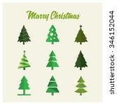 merry christmas tree card ... | Shutterstock .eps vector #346152044