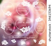 wedding frames with roses on... | Shutterstock .eps vector #346153694