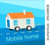 mobile home flat design banner. ... | Shutterstock .eps vector #346168838