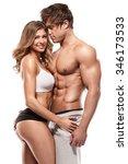 sexy couple  muscular man...   Shutterstock . vector #346173533