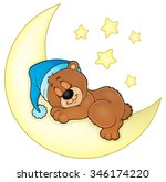 sleeping bear theme image 4  ... | Shutterstock .eps vector #346174220
