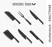 vintage butcher's tools.... | Shutterstock .eps vector #346175468