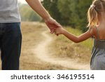 a the parent holds the hand of... | Shutterstock . vector #346195514