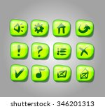 set of green buttons  vector...