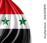 syria flag of silk with... | Shutterstock . vector #346203890