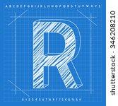 high quality 3d blueprint font. ... | Shutterstock . vector #346208210