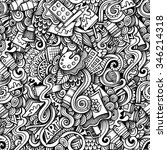 cartoon hand drawn doodles on... | Shutterstock . vector #346214318