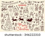 merry christmas. doodle set of... | Shutterstock .eps vector #346222310