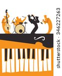 jazz musicians silhouettes with ... | Shutterstock .eps vector #346227263