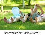 happy active children lying on... | Shutterstock . vector #346236953