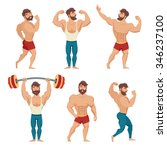 set of muscular  bearded mans... | Shutterstock .eps vector #346237100