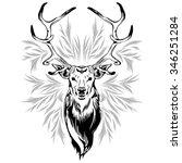 deer head tattoo style | Shutterstock .eps vector #346251284