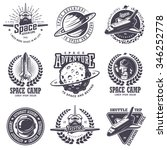 set of vintage space and... | Shutterstock .eps vector #346252778