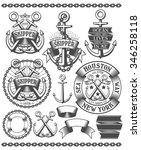 marine emblem  tattoo with... | Shutterstock .eps vector #346258118