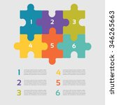six vector jigsaw puzzle pieces ... | Shutterstock .eps vector #346265663
