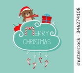 baby bear in santa hat  giftbox ... | Shutterstock .eps vector #346274108