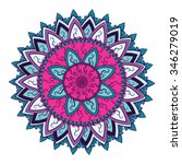 colored mandala with asian and... | Shutterstock .eps vector #346279019