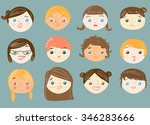 set of 12 cute female faces. | Shutterstock .eps vector #346283666