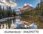 morning light and reflection of Mount Edith Cavell in Jasper National Park, Alberta, Canada