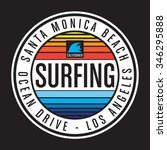 surfing california typography ... | Shutterstock .eps vector #346295888