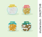 pickled mushrooms set. vector... | Shutterstock .eps vector #346297148
