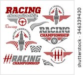 set of car racing emblems and... | Shutterstock .eps vector #346339430