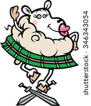 cartoon scottish dancing sheep... | Shutterstock .eps vector #346343054