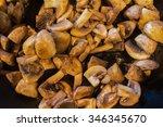mushrooms fried in olive oil in ... | Shutterstock . vector #346345670