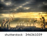 industrial landscape. from pipe ... | Shutterstock . vector #346361039