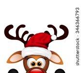 funny christmas reindeer  | Shutterstock .eps vector #346366793
