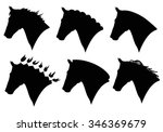 vector set of horse head... | Shutterstock .eps vector #346369679