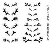 Set Of Hand Drawn Deer Horns...