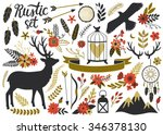 vector rustic set with deer ... | Shutterstock .eps vector #346378130