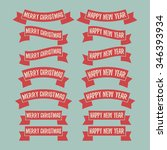 set of red ribbon banners.... | Shutterstock .eps vector #346393934