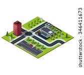 isometric city map. crossroads... | Shutterstock . vector #346411673