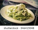 fancy organic spinach fetuccine ... | Shutterstock . vector #346415048