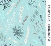 vector seamless winter cute... | Shutterstock .eps vector #346418486