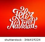 feliz navidad hand lettering... | Shutterstock . vector #346419224