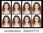Stock photo identification photo of a young girl for passport identity card isolated 346425773