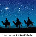 christian christmas scene with... | Shutterstock .eps vector #346431434