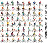 cyclists vector set | Shutterstock .eps vector #346434428