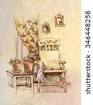 interior  water color  sketch | Shutterstock . vector #346448258