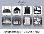 landmarks of croatia. set of... | Shutterstock .eps vector #346457780